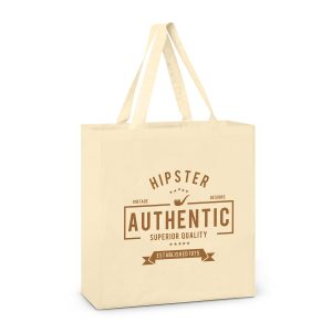 promotional large carnaby cotton shoulder tote with matching long handles and printed logo