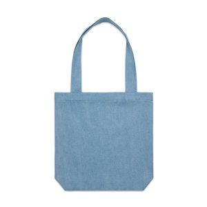 denim branded carrie tote with matching coloured handle