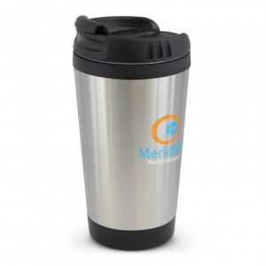 promotional compact stainless steel coffee cup with branded logo