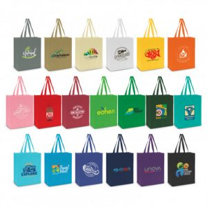 selection of reusable avanti tote bag with a gusset and longer carry handles and printed logo