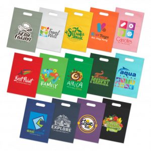 selection of promotional reusable delta tote bag with die cut hand grip and printed logo