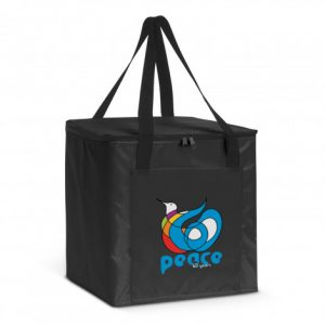 black arctic cooler bag with printed logo and it has a zippered top closure
