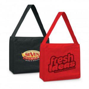 2 large slinger tote bag with a robust shoulder strap and printed logo