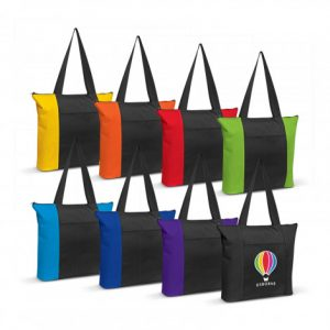 selection of avenue tote bag with a zippered front pocket and branded logo
