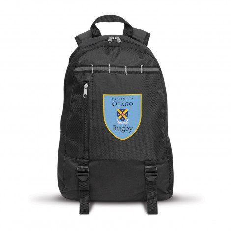 black tall Campus Backpack with a vertical zippered pocket on the front and mesh water bottle holder