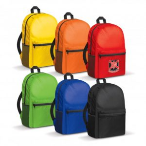 colourful selection of backpacks with a large zippered front pocket and custom company branded logo