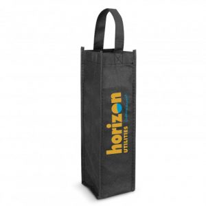 black promotional single wine tote bag with printed logo