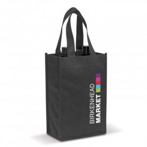 black two bottle wine tote bag with separated compartments and printed company logo