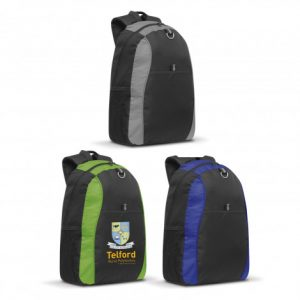 3 two tone Safari Backpack with smart patterned ripstop nylon accents and custom logo