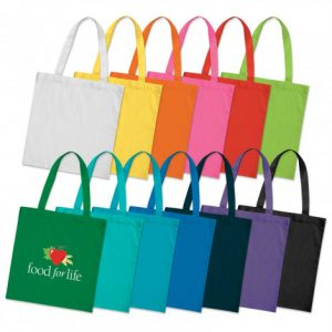 selection of reusable sonnet cotton tote bag with long carry handles and printed corporate logo