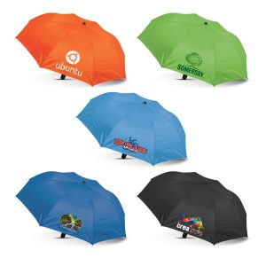 multicolour selection of avon compact umbrella with a leather look hand grip and printed corporate logo
