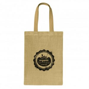 promotional unbleached zeta jute tote bag with matching colour handles and printed logo