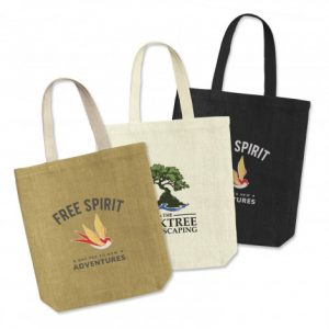 3 promotional large thera jute tote bag with long carry handles and printed logo