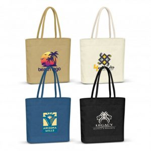 4 selection of promotional carrera jute tote bag with matching colour padded handles and custom printed braded logo