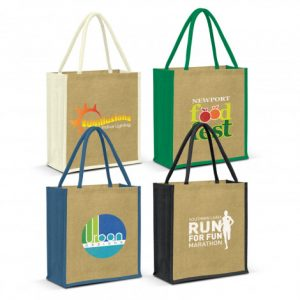 4 large lanza jute tote bag with padded handles and corporate logo