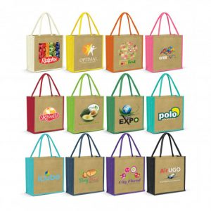 selection of large monza jute tote bag with matching colour padded carry handles and custom branded logo
