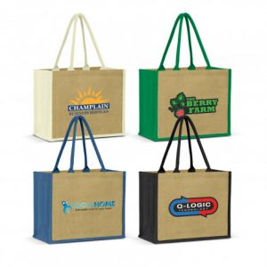4 selection of extra wide torino jute tote bag with long padded carry handles and printed logo