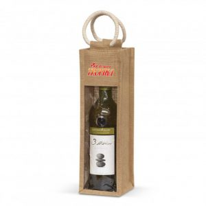 ingle bottle wine serena jute carry bag with cotton handles and clear PVC front panel