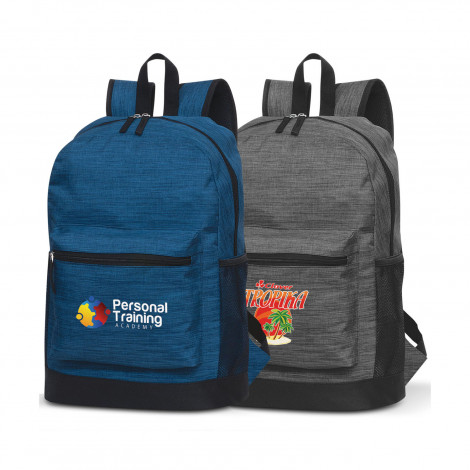 two promotional blue and grey Traverse Backpack with a large zippered pocket on the front and company branded logo