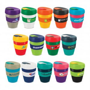 selection of reusable coffee cup with a heat resistant silicone branded band and a secure screw on lid