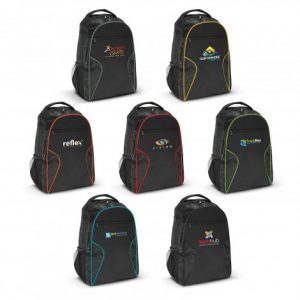 selection of promotional Artemis Laptop Backpack with side mesh two compartments and printed logo