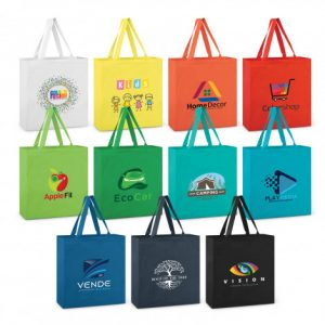 selection of carnaby cotton shoulder tote with matching long handles and custom logo