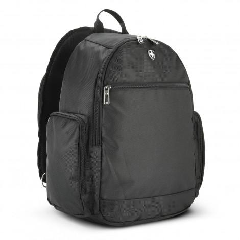 Black Swiss Peak Sling Laptop Backpack with zipped front pocket and side pocket