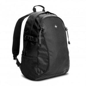 promotional black Swiss Peak Outdoor branded Logo Backpack with two mesh side pockets and adjustabale external straps