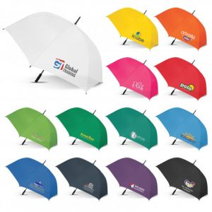 multicolour selection of sports umbrella with soft EVA hand grip and custom printed corporate logo