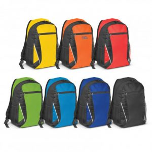 colourful selection of large single compartment Navara Backpack with a zippered front pocket