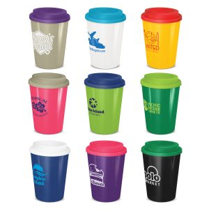selection of promotional reusable coffee cups with a secure screw on lid and branded logo
