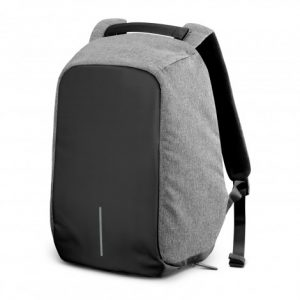 Anti theft backpack with black front panel and grey side and top panel