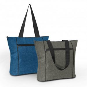 2 promotional avenue elite tote bag with a zippered front pocket and long woven carry handles