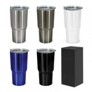 selection of large vacuum insulated stainless steel promotional coffee cups with black gift box