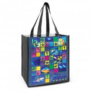 black promotional cairo tote bag in full colour custom printed branded logo with long black handles