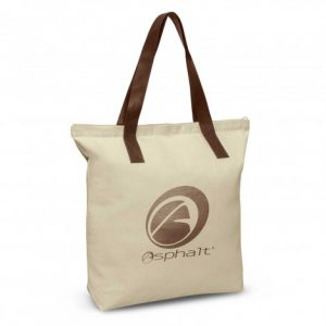 promotional ascot tote bag with brown PU handles, a zippered top closure and printed logo