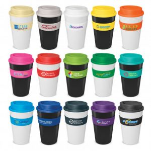 selection of classic reusable coffee cups with heat resistant silicone branded bands