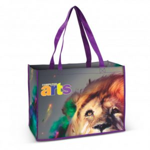 cotton tote bag with purple lining and customised printed branded logo