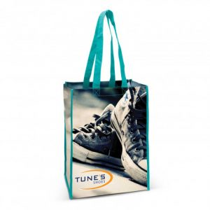 promotional anzio cotton tote bag with teal lining and customised printed branded logo