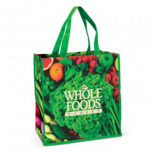 large lorenzo tote bag with matching long carry handles and full colour printed logo on both sides