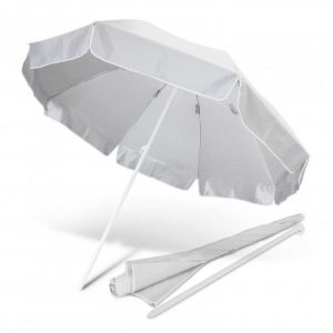 large white promotional bahama beach umbrella that includes compact carry case which has a handy shoulder strap