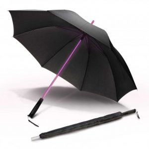 black light sabre umbrella with super bright LED shaft and includes a slip on pongee carry sleeve