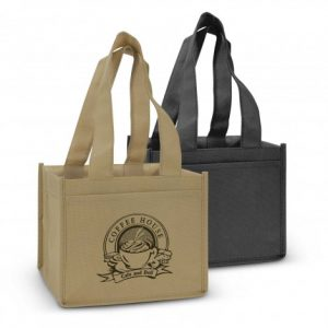 two reusable juno coffee tote bag with large front slip pocket with custom printed company logo