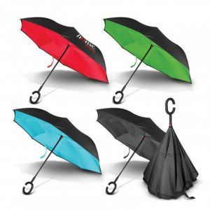 4 multicolour selection of promotional inverted umbrella with printed logo