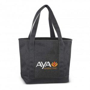 black grenada tote bag with front slip pocket and printed logo