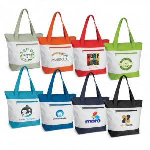 selection of capella tote bag with a zippered front pocket and printed branded logo