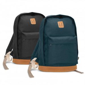 two promotional black and blue Vespa Backpack with smart brown suede on the bottom and a front zipped pocket