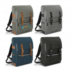 selection of colourful Nirvana Backpack with two external side pockets and smart electroplated silver zips