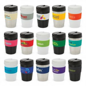 selection of premium vacuum insulated stainless steel cups and branded bands can be mixed and matched in any colour