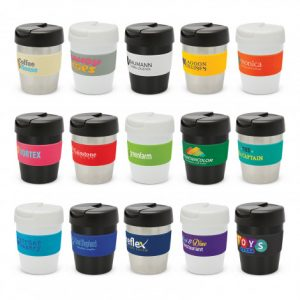 selection of branded silicone bands vacuum insulated stainless steel coffee cups and with a secure screw on lid
